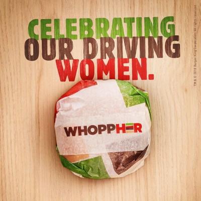 """Burger King celebra con """"WhoppHer"""" gratis a las mujeres conductoras en Arabia Saudí"""